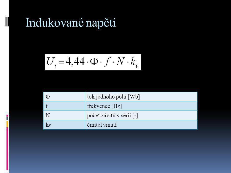 Indukované napětí Φ tok jednoho pólu [Wb] f frekvence [Hz] N